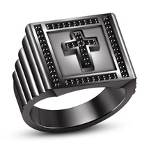 925 Sterling Silver Black Gold Plated Round Cut CZ Cross Men's Wedding Band Ring - $105.99