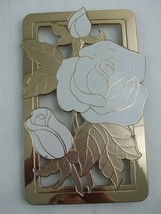 Vintage Gold Tone Metal Footed Trivet w White Roses Wm. A. Rogers Japan ... - $9.85