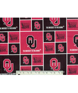 OU Boomer Sooners Fabric, Oklahoma cotton quilt... - $10.98