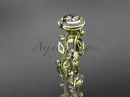 Leaf engagement ring, 14k yellow gold diamond leaf and vine wedding ring... - $1,525.00