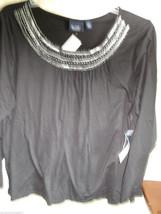 LADIES 1X  TOP GLORIA VANDERBILT  BLACK - $15.99