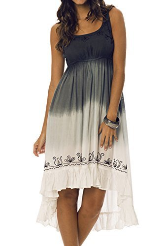 Primary image for Women's Dress with Contrast Embroidery (Charcoal, Small) [Apparel]
