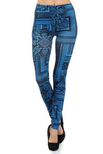 Women Bandana Frame Collage Printed Seamless Fashion Leggings (one size, midn...