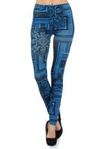 Women Bandana Frame Collage Printed Seamless Fashion Leggings (one size,... - $13.85