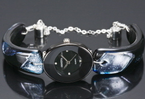 Midnight Watch Dichroic Fused Glass Band Unique Handcrafted Wristwatch Bonanza