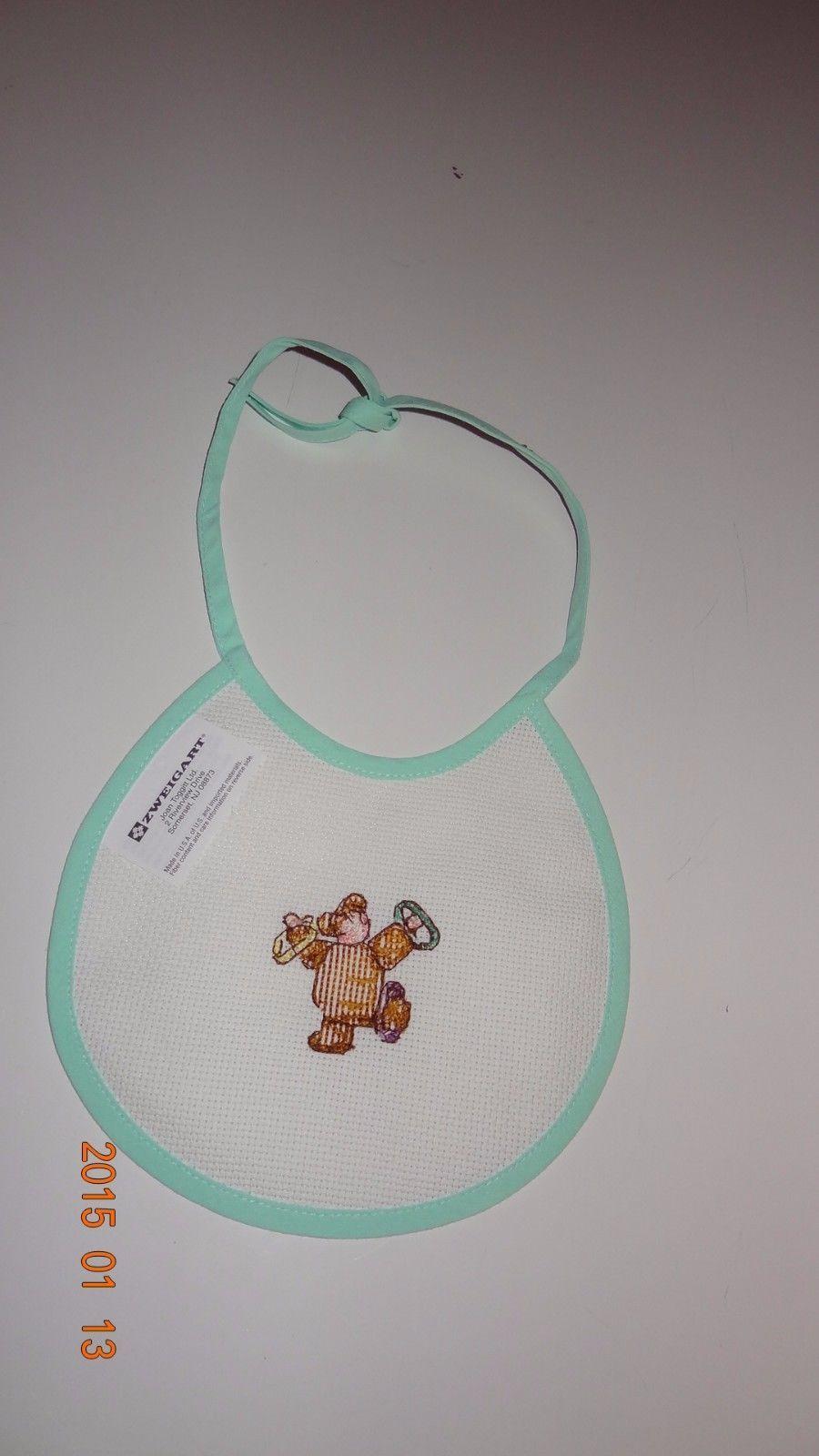 New baby bib boy or girl child wearing Teddy Bear costume Handmade Cross Stitch