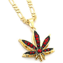 "14k Gold Plated Marijuana Red CZ Stone Pendant 24"" Figaro Chain Necklace - $13.85"