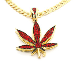 "Mens 14k Gold Plated Red Stone Marijuana Large Pendant 30"" Cuban Chain N... - $28.71"