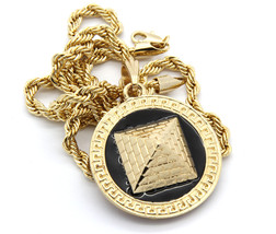"Mens Round Pyramid Pattern Gold Plated Black 24"" Rope Chain Pendant Neck... - $14.84"