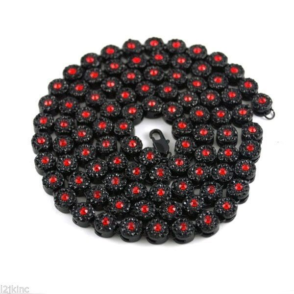 Mens Flower Cluster Black Red Iced Out Chain Necklace Simulated Diamonds 36 Inch