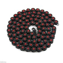 Mens Flower Cluster Black Red Iced Out Chain Necklace Simulated Diamonds... - $38.51