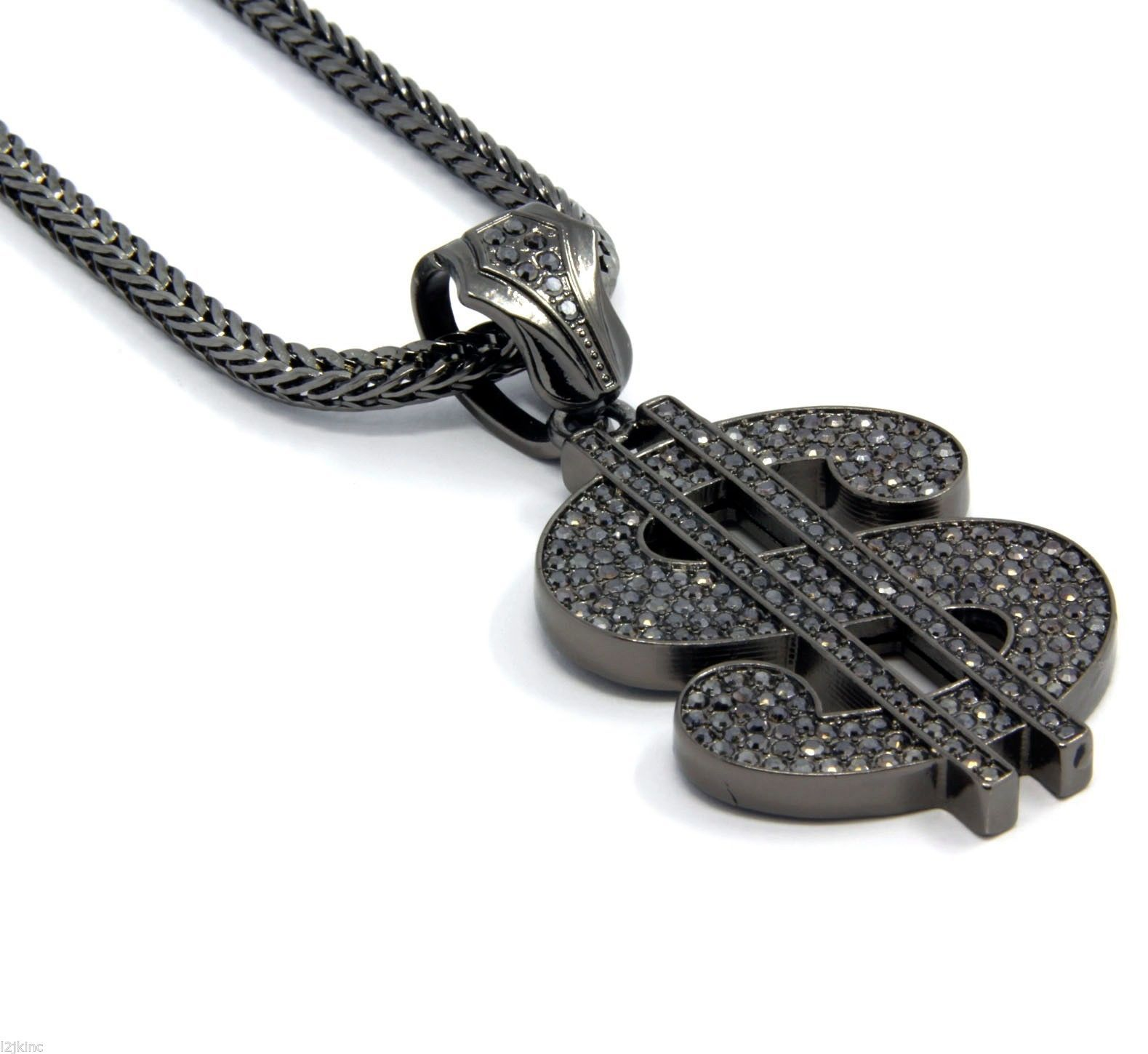 "Mens Gray Iced Out $ Money Sign Pendant Hip-Hop 36"" Inch Franco Necklace Chain"