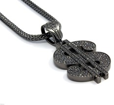 "Mens Gray Iced Out $ Money Sign Pendant Hip-Hop 36"" Inch Franco Necklace... - £22.58 GBP"