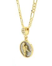 "Mens Gold Plated Stardust Angel Prayer Round Medal Pendant 24"" Figaro Chain - €12,55 EUR"