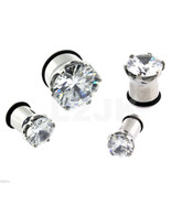 Pair (2) Silver Clear Prong Set CZ Hollow Screw Fit Ear Plugs Tunnels Ga... - $9.80+
