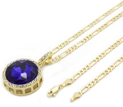 """Men 14k Gold Plated Iced Out Blue Ruby Round Pendant Hip-Hop 24"""" Figaro ... - $16.82"""
