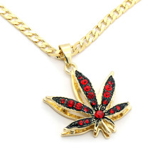 "14k Gold Plated Mini Marijuana Red CZ Stone Pendant 24"" Cuban Chain Neck... - $13.85"