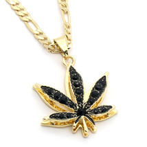 "14k Gold Plated Marijuana Black CZ Stone Pendant 24"" Figaro Chain Necklace - $13.85"