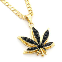 "14k Gold Plated Marijuana Black CZ Stone Pendant 24"" Cuban Chain Necklace - $13.85"