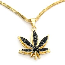 "14k Gold Plated Marijuana Black CZ Stone Pendant 24"" Franco Chain Necklace - $13.85"