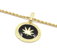 "Men Medallion Pattern Marijuana Gold/Black Back 24"" Rope Chain Pendant N... - $13.85"
