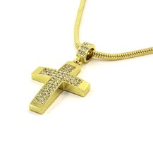 "Mens 14k Gold Filled Fully Cz Cross Pendant Hip-Hop 24"" Snake Necklace C... - $14.84"