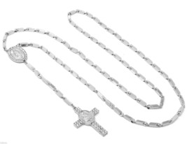 """Silver Tone 39"""" Clear Iced Out Guadalupe Cross Rosary Charm Pendant Bull... - £10.64 GBP"""