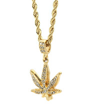 "Men Gold Plated Marijuana Fully Cz Pendant Hip-Hop 24"" 4mm Rope Necklace... - $14.84"