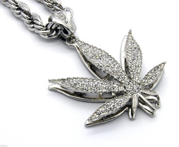 "Mens Silver  Plated 30""  Rope Chain Marijuana Pendant Necklace - $29.69"