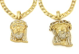 """Jesus Piece Pendant 24"""" Cuban Chain Necklace Gold Plated Iced Out Set of... - £17.74 GBP"""