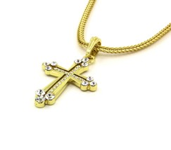 Cross Cz Ending Charm Gold Finish Piece Pendant Franco 24 Chain Necklace... - $14.84