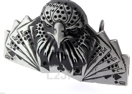 Black Eagle w/poker Cards Mens Fashion Belt Buckle - $8.90