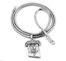 Jesus Charm Mini Pendant Snake Franco Chain Necklace Jewelry Silver Plat... - $14.84