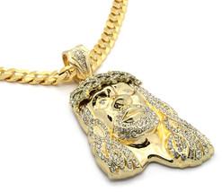 """Mens 14k Gold Big Jesus Cz Pendant Hip-Hop 30"""" Inch 10mm Cuban Necklace ... - $29.69"""