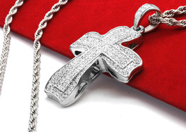"""Men Sm Flat Clover Cross Silver Plated CZ Pendant 30"""" Stainless Steel Ro... - $14.84"""