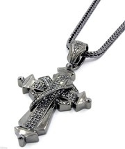"Mens Gray Iced Out X Shape Cross Pendant Hip-Hop 36"" Inch Franco Necklac... - £21.30 GBP"