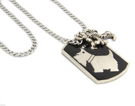 """Mens Silver Plated Stainless Steel Puppy I Love Pendant with 4mm 24"""" Cub... - $12.86"""