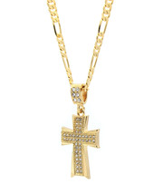 "Mens 14k Gold Plated Cz Dome Cross Pendant Hip-Hop 24"" Figaro Necklace C... - $14.84"