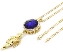 """Men Gold Plated Iced Out Blue Ruby Oval Angel Pendant Hip-Hop 30"""" Figaro... - $16.82"""