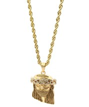 "Mens Gold Plated Gold Stardust Ninja Jesus Pendant 4mm 24"" Rope Necklace... - $14.84"