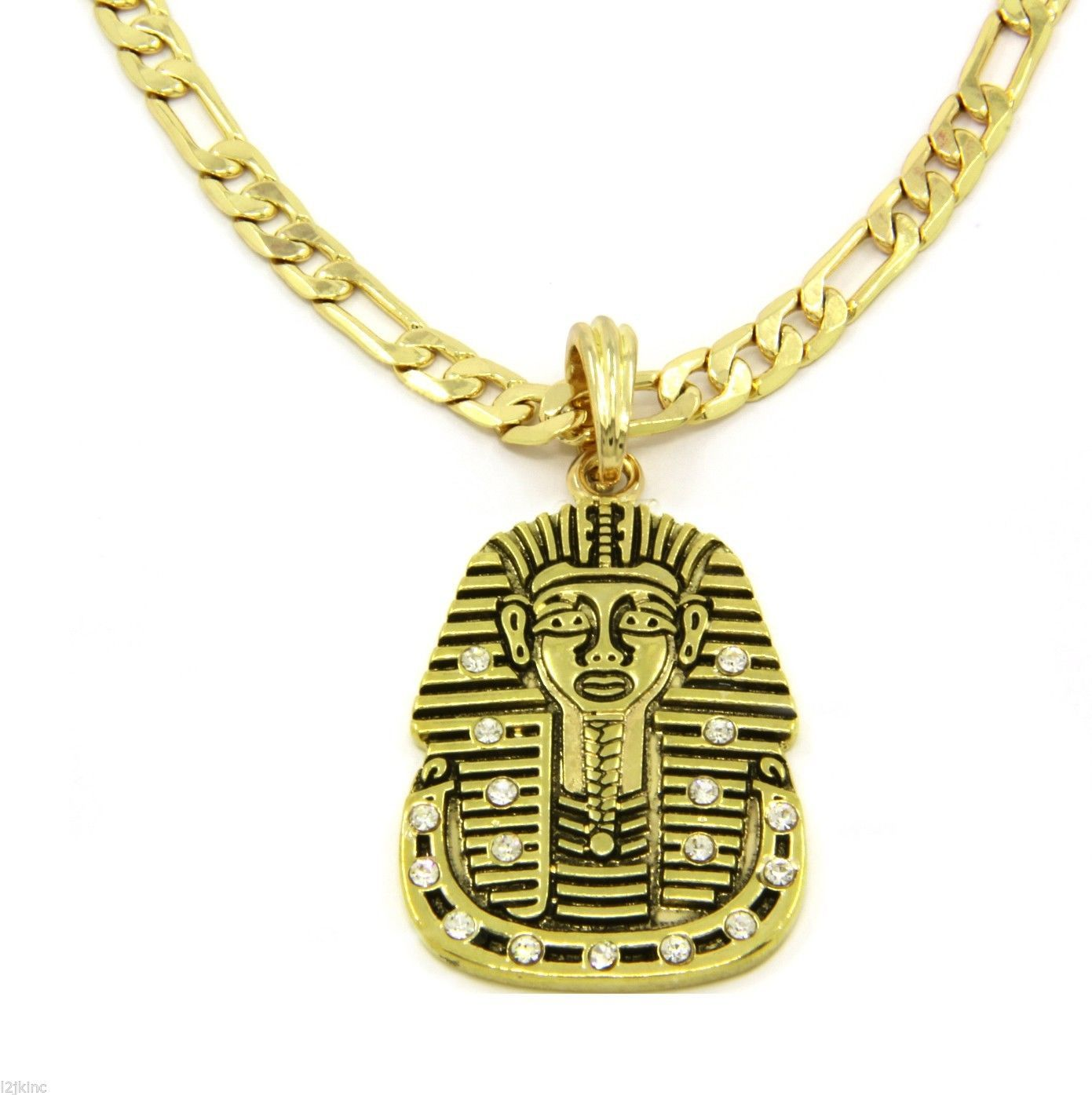 "Flat Pharaoh Charm Gold Plated Piece Pendant 24"" Figaro Chain Necklace Jewelry"