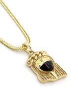 "Men's Gold Plated Stardust Black Ninja Mask Jesus Pendant 24"" franco Chain - $14.84"