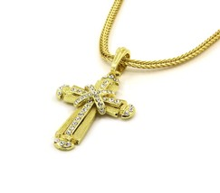 """Cross Charm Gold Finish Piece Pendant Franco 24"""" Chain Necklace Jewelry ... - $14.84"""