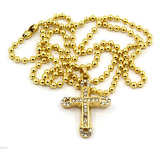 Cross Piece Charm Mini Micro Pendant Ball Chain Necklace Jewelry Gold Pl... - $12.77