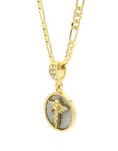 "Mens Gold Plated Stardust Angel Cz Round Medal Pendant Hip-Hop 24"" Figar... - €12,55 EUR"