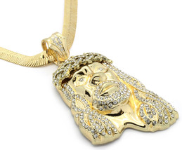 "Mens 14k Gold Big Jesus Cz Pendant Hip-Hop 30"" 9mm Herringbone Necklace ... - $29.69"
