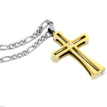 Men's Gold Stainless Steel Small Coil Cross Pendant 6mm 30 Inch Figaro C... - $19.79