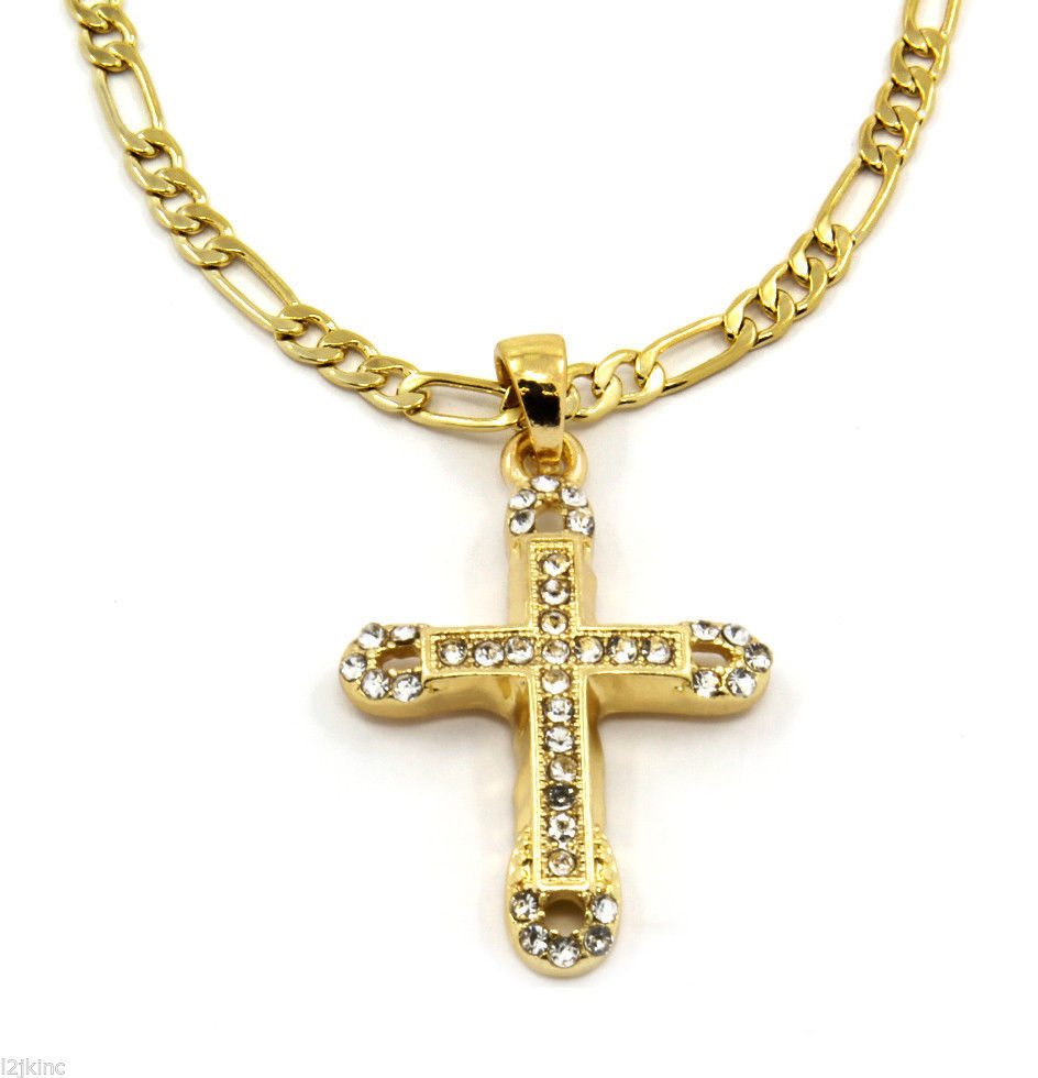 Cross Piece Charm Micro Pendant Figaro Chain Necklace Jewelry Gold Plated 003