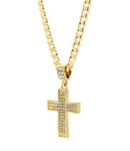 "Mens 14k Gold Plated Cz G4-Dome Cross Pendant Hip-Hop 24"" Cuban Necklace... - $14.84"