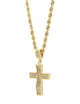 "Mens 14k Gold Plated Cz Wave-3 Cross Pendant Hip-Hop 24"" Rope Necklace C... - $14.84"